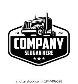 Trucking company logo, semi truck logo, 18 wheeler ready made logo template set vector isolated