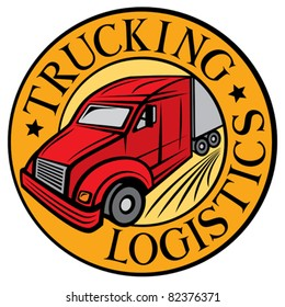 trucking - logistics symbol (emblem, design, badge)