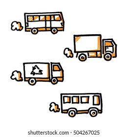 Trucks and buses. Hand drawn vector illustration isolated on white.