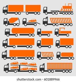 Trucks with dangerous cargo. Icons set.