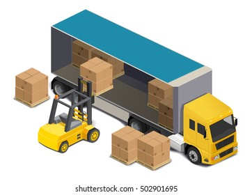 Trucks, forklift loadingpallets with cardboard boxes. isometric illustration .Low poly style.