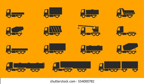 Trucks icon set. Side view collection