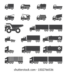 Trucks icons set, vector illustration.
