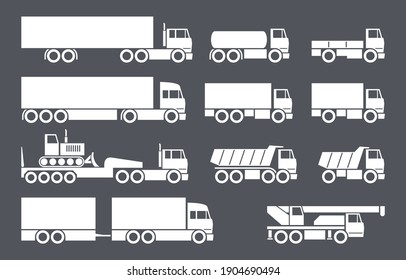 Trucks icons vector set in flat style.