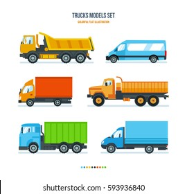 Trucks models set concept. Trucks for transportation of goods, gazelle, car for transportation of people and goods. Colorful flat illustration.