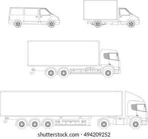 Trucks outline set: van, truck and semi-trailer
