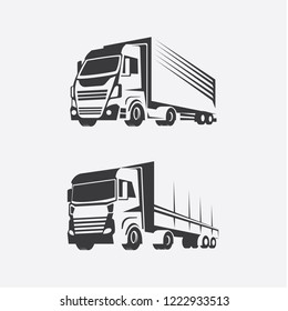 Trucks stylized for logos, Simple style, bright design, stylized image of wheeled vehicles. Logo for transportation, delivery and transportation of cargo.