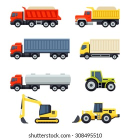 Trucks and tractors set. Flat style vector icons.