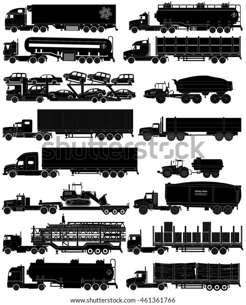 Trucks with trailers silhouettes set. Semi-trailers trucks. Isolated on white. Flat style icons