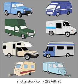 Trucks and trailers vector  image design set.