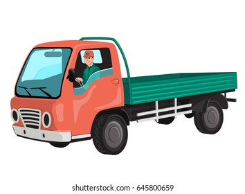 truck-van, with driver behind the wheel. By automobile roads. City transport for the delivery of wholesale goods to the shops. Fast service truck. Isolated on white background.Vector illustration.