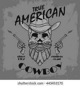 True American with hand drawn skull with a hat and guns, t-shirt design. Cowboy theme.