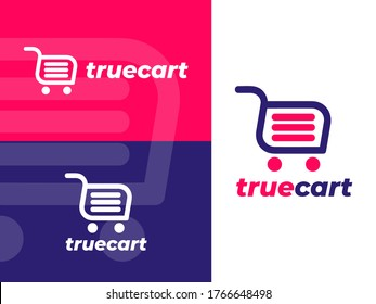 True Cart logo design with flat style. Representing cart, shopping, shop, etc. Suitable for marketplace, shopping, and retail companies.