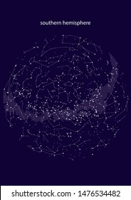 true constellations of the southern hemisphere, star map. Science astronomy, star chart on blue background