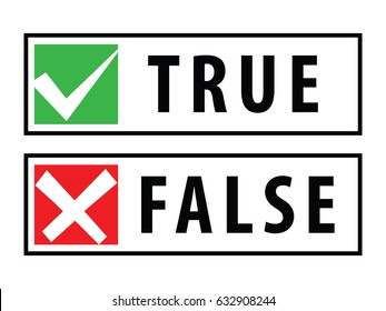 true and false rubber stamps or buttons isolated on white background