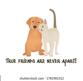 """""""True friends are never apart!"""" Friendship day greeting card. Can also be used for T shirts, cards, postcards, posters or any other print."""