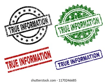 TRUE INFORMATION seal prints with corroded texture. Black, green,red,blue vector rubber prints of TRUE INFORMATION text with corroded style. Rubber seals with circle, rectangle, medal shapes.
