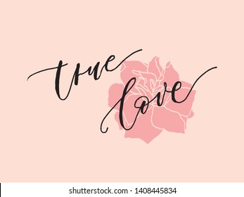 """True love hand drawn vector illustration.Typography poster.Quote """"True Love"""" for postcard, icon, logo or badge. Vintage style modern calligraphy. Inspirational quote. Valentine's Day design."""