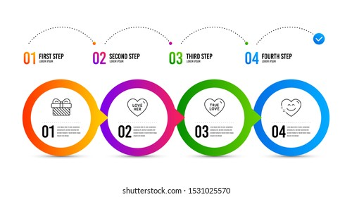 True love, Love her and Gift line icons set. Timeline infographic. Smile chat sign. Sweet heart, Sweetheart, Present. Heart face. Holidays set. True love icon. Timeline diagram. Vector