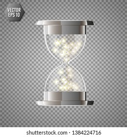 True transparent hourglass with glowing lights inside, isolated on transparent background. Simple and elegant hourglass timer. Hourglass icon 3d illustration.