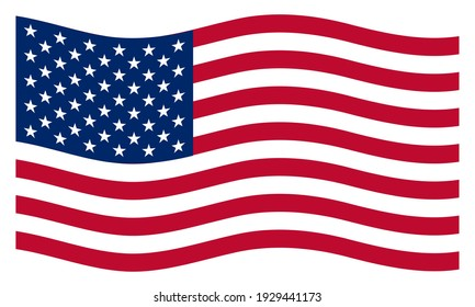 True waving flag of the United States of America