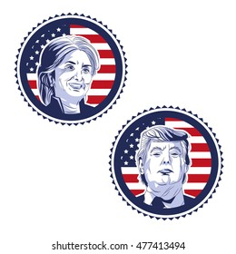 Trump and clinton presidential election, vector illustration, Editorial use only