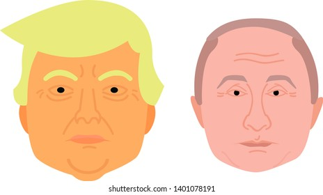 Trump Face and Putin Face in Flat Design Vector Illustration Funny Cartoon Style for Rigging (Personage and Character Animation).
