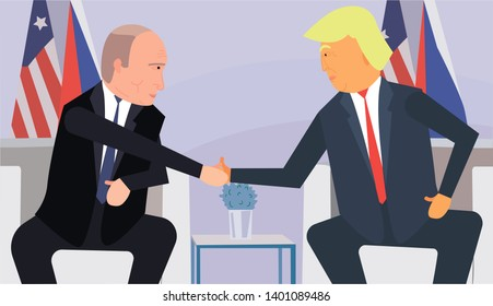 Trump and Putin Handshake Vector Illustration Flat Design (Funny Cartoon Style - Faces and Full Growth). Trump and Putin in Meeting Room on Political Forum