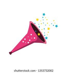 trumpet of birthday with stars