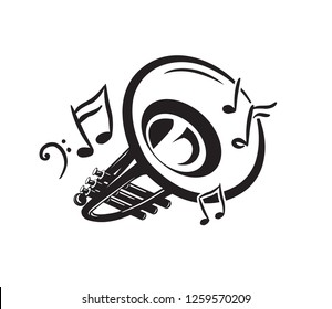 Trumpet blowing music notes. Vector music instrument icon or logo.