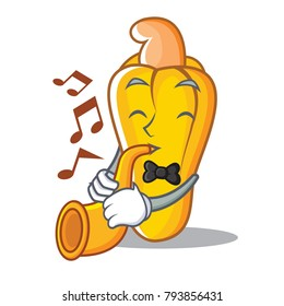 With trumpet cashew mascot cartoon style