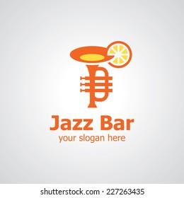 Trumpet as cocktail vector logo design, icon idea for musical cafe brand