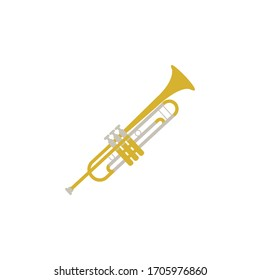 trumpet color illustration icon on white background