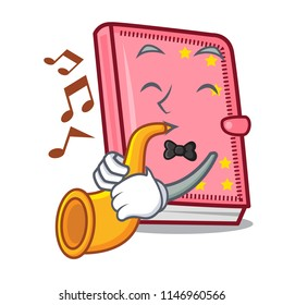 With trumpet diary mascot cartoon style