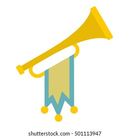 Trumpet with flag icon. Flat illustration of trumpet vector icon for web design. Medieval flag on horn. Win music