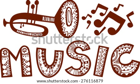 a trumpet with flying music notes and music word in decorative style vector illustration