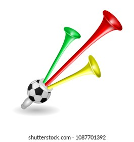 Trumpet Football Fan Horn, Soccer Ball, Isolated on White Background, Hand Drawn Photo Realistic, Vector 3D Illustration