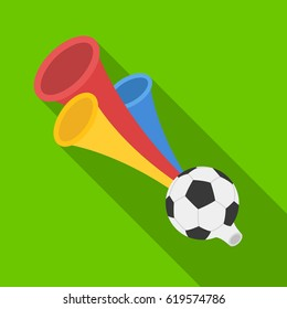 Trumpet football fan.Fans single icon in flat style vector symbol stock illustration.