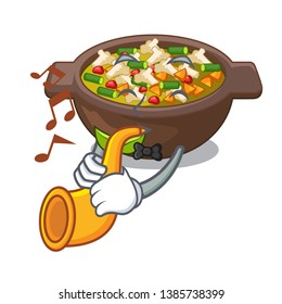 With trumpet fried minestrone in the cup character