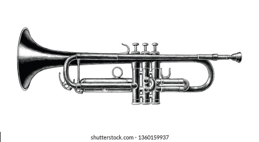 Trumpet hand draw vintage style black and white clip art isolated on white background