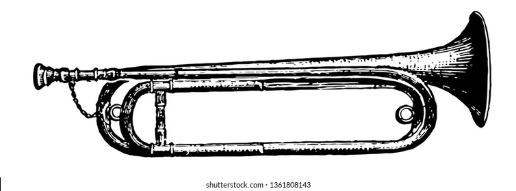 Trumpet has the same harmonic scale, vintage line drawing or engraving illustration.