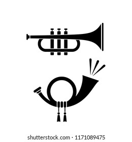 Trumpet and horn musical instruments icon on white background