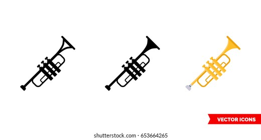 Trumpet icon of 3 types: color, black and white, outline. Isolated vector sign symbol.