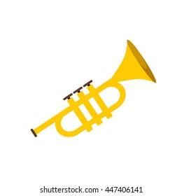 Trumpet icon isolated on white background. Flat vector illustration trumpet. Golden trumpet. Wind musical instrument- trumpet.