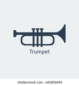 Trumpet icon. Musical symbol. Silhouette vector icon