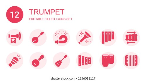 trumpet icon set. Collection of 12 filled trumpet icons included Vuvuzela, Banjo, Horn, Panpipe, Mandolin, Xylophone, Conga, Accordion