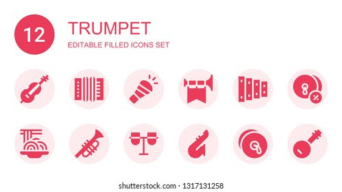 trumpet icon set. Collection of 12 filled trumpet icons included Cello, Accordion, Horn, Trumpet, Xylophone, Padthai, Conga, Saxophone, Cymbals, Banjo