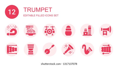 trumpet icon set. Collection of 12 filled trumpet icons included Horn, Padthai, Drum set, Toy, Xylophone, Timpani, Banjo, Saxophone, Vuvuzela