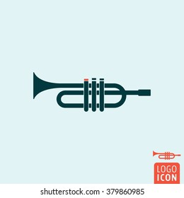 Trumpet icon. Signal horn icon isolated, minimal design. Vector illustration