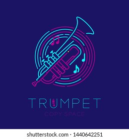 Trumpet, music note with line staff circle shape logo icon outline stroke set dash line design illustration isolated on dark blue background with saxophone text and copy space